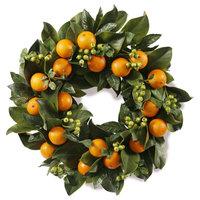 """Magnolia Leaf & Oranges Wreath 24"""" Diameter"""