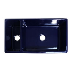 Whitehaus Collection Large Quatro Alcove Reversible Bowl And Half Fireclay Sink Blue Kitchen
