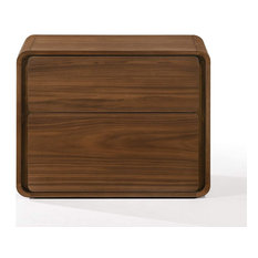 Modern Nightstand Unique Design With Rounded Edges And 2 Drawers