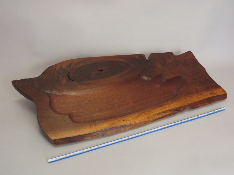 Tray 17017 Walnut with Carved Pan, Footed.