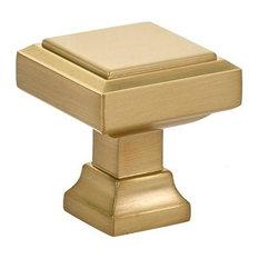 "Emtek 86295 Geometric 1.25"" Square Cabinet Knob, Satin Brass"