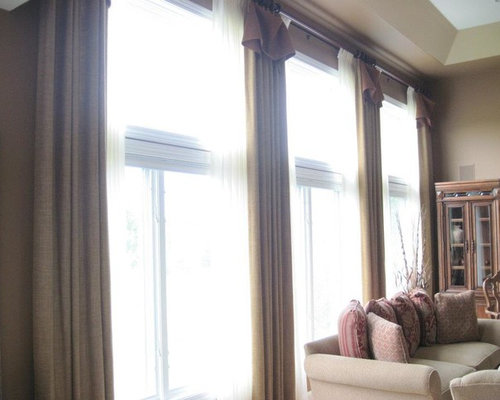 two story drapery over pinch pleat sheers - Curtains
