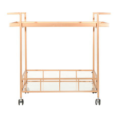 GDF Studio Amaya Industrial Iron and Glass Bar Cart, Rose Gold