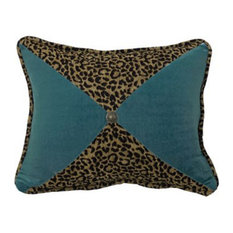Leopard And Teal Sectioned Pillow With Conch Detail