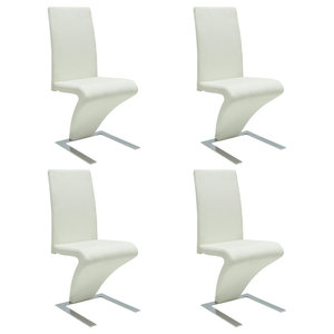 vidaXL Set of 4 Faux Leather Iron White Dining Chairs, Zigzag Shape