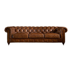 Crafters And Weavers   Leather Chesterfield Sofa, Light Brown   Sofas