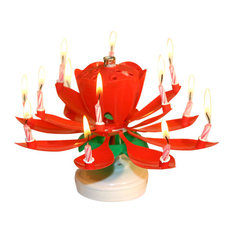 Lotus Flower Musical Candle, Red