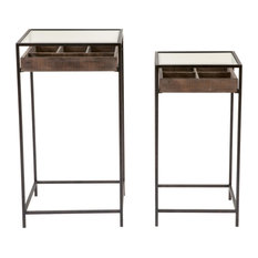 Side Tables With Visible Storage Drawers Set Of 2