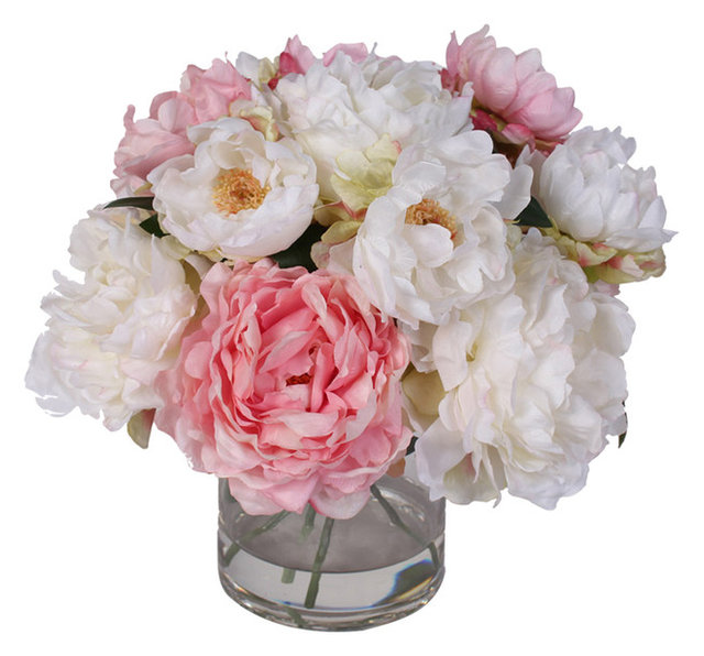 Silk french peonies bouquet in glass vase with fake water silk french peonies bouquet in glass vase with fake water mightylinksfo Image collections