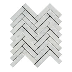 "12""x12"" Polished Carrara Benetton Ferrari Marble Herringbone, Set of 10"