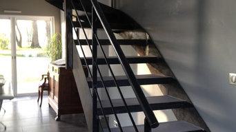 Habillage d'un escalier en acier beton cire