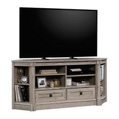 "Pemberly Row Contemporary Wood 60"" Corner TV Stand in Split Oak"