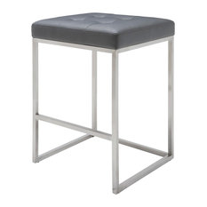 Chi Counter Stool  25.75-inch  Brushed Stainless Steel Frame Gray
