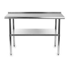 Heavy Duty 48 X 24 Inch Stainless Steel Kitchen Prep Table W/ Backsplash
