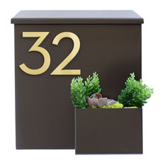 Greetings Wall Mounted Mailbox w/ House Numbers, Brown, With Numbers