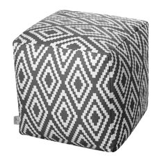 Ela Modern Cotton Pouffe, Grey and White