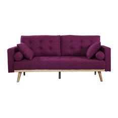 Mid-Century Modern Tufted Linen Fabric Sofa Purple