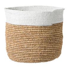 Raffia Basket, Large, Natural/White