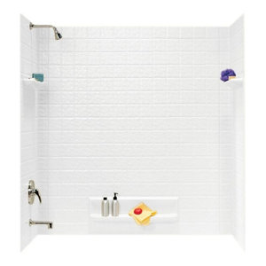 Five Piece Easy Up Adhesive Tub Wall, White, 32