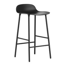 Normann Copenhagen Form Barstool, Lacquered Steel, Black