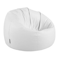 Modern Bean Bag Upholstered, Faux Leather, Extra Large, White