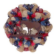 Praying Cowboy Western Inspirational Wreath Handmade Deco Mesh