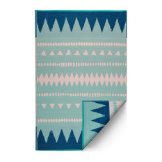 Fab Habitat Indoor Outdoor Recycled Plastic Rug, Palm Springs, Teal, 4'x6'