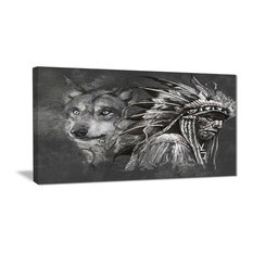 """""""Wolf and American Indian Chief"""" Canvas Art Print, 40""""x20"""""""