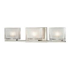 Chiseled Glass 3-Light Bath, Brushed Nickel