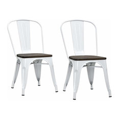 Industrial Dining Chair With White Metal Frame And Wooden Seat Set Of 2