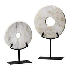 White Disk on Stand, Large