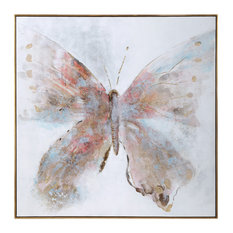 "Elegant Oversize 51"" Colorful Butterfly Painting Modern Pink Blue Gray Red"