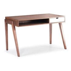 zuo modern 46 in desk in walnut desks and hutches