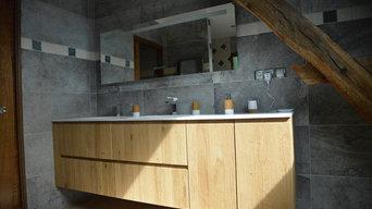 salle de bains chene massif contemporaine