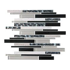 "11.75""x12.75"" Saturn Mosaic Tile Sheet, Black and Silver"