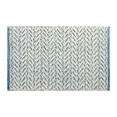 Herringbone Berber Door Mat, 2'x3', Blue