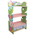 Fantasy Fields - Magic Garden Handcrafted Kids Wooden Bookshelf - Learning is promoted and creativity is inspired with the Magic Garden Bookcase. Perfect for storing books and displaying awards, this 3-shelved floral creation is sure to be a hit. This shelf is hand-painted and hand-carved with high quality sturdy wood, and features convenient 2-drawer storage with dragonfly and bumble bee pulls. The bookcase also offers two hooks so it can be secured to the wall, so there's no chance of it tipping over. Pair the bookshelf and the magic garden rocker (sold separately) together, and you've got quite the pair. Some assembly required. Perfect for ages 3 and up.