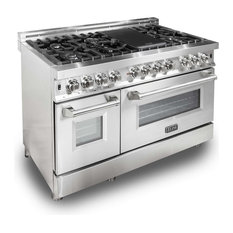 """Gas Burner/Electric Oven Range, Stainless Steel, 48"""""""