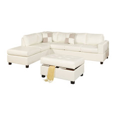 Poundex Associates Corp. - 3-Pcs Cream Bonded Leather Sectional Sofa With Reversible Chaise Storage Ottoman - Sectional Sofas