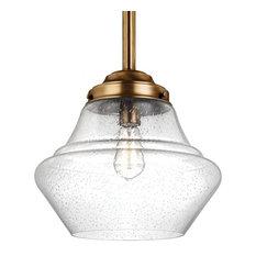 Feiss LED Pendant, Aged Brass