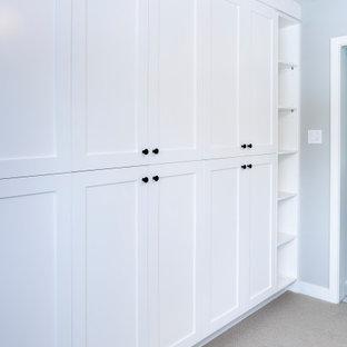 Idéer för en modern garderob, med luckor med profilerade fronter, vita skåp och heltäckningsmatta