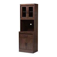 Laurana Modern and Contemporary Dark Walnut Finished Kitchen Cabinet and Hutch