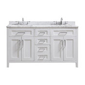 Tahoe Double Vanity Set, White With Carrara Marble Top, 60""