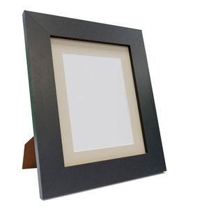 "Brix Frame, Black, Light Grey Mount, 10x10"", Image 8x8"""