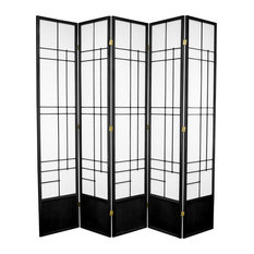 7' Tall Eudes Shoji Screen, Black, 5 Panels