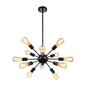 Vintage Metal Dimmable Sputnik Chandelier With 12-Light Black Painted
