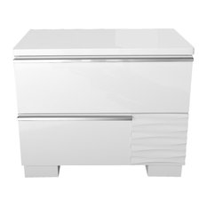 Athens White Lacquer 2-Drawer Bedroom Nightstand