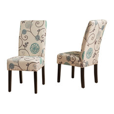 Percival White and Blue Floral Fabric Dining Chairs, Set of 2