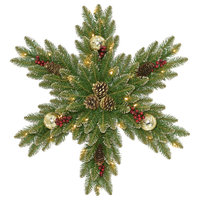 """Glittery Gold Dunhill Fir Snowflake With Battery Operated LED Lights, 32"""""""