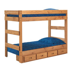 Chelsea Home Twin Over Twin One-Piece Bunk Bed in Ginger Stain